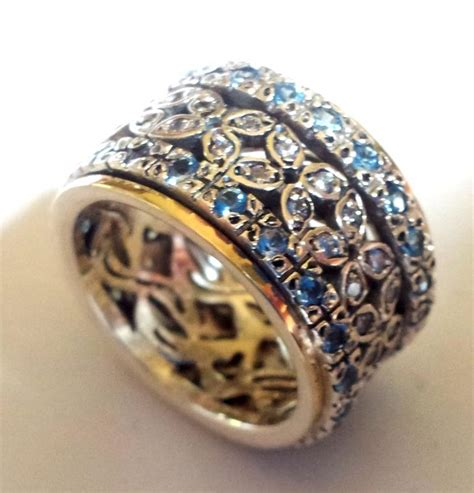 ring spinner cz blue zircons silver gold ct unique