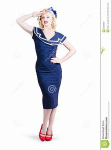Young Retro Pinup Girl Wearing Sailor Uniform Stock Image ...