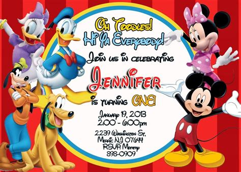 Mickey Mouse Invitations Template by Free Printable Mickey Mouse Clubhouse Invitations Template