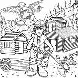 Coloring Cabin Pages Log Printable Popular sketch template
