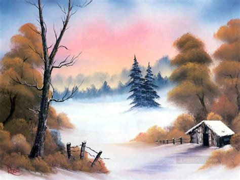 Autumn Trees After First Snow Style Of Bob Ross Painting