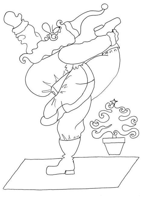 yoga santa christmas coloring pages  adults