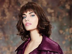 Hairstyle featuring a textured fringe with a jagged cutting line  Medium