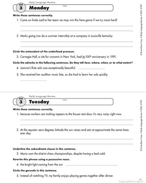 daily language review worksheets second grade 2nd grade