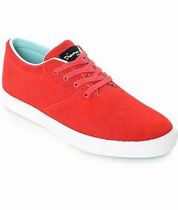Diamond Supply Co Torey Red & White Suede Skate Shoes | Zumiez