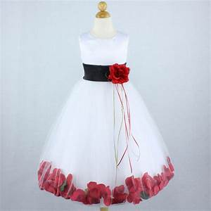 WHITE BLACK RED Flower Girl Dress Gown Petals Wedding ...
