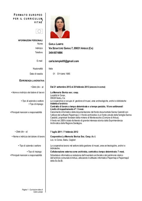 Curriculum Vitae Excel Formato Europeo by Cv Formato Europeo Carla Per Biblioteca