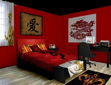 japanese themed decor here we have a fiery asian dragon themed room filled to the brim with fiery reds and deep