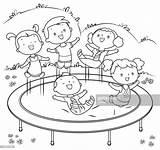 Trampoline Jumping Coloring Illustrazione Clipart Grafiken Equipment Cartoons Springen Stockillustraties Ausmalen Illustrations Symbole Malbuch Trampolin Kinder Jump Iconen Colour Getty sketch template