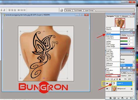 membuat tato permanen  punggung  photoshop