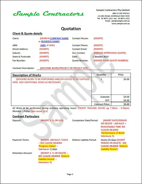 contract quotation template effective business contract document package contractors