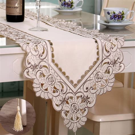 wedding table cloth runners rectangle flower table runner tablecloth with tassel