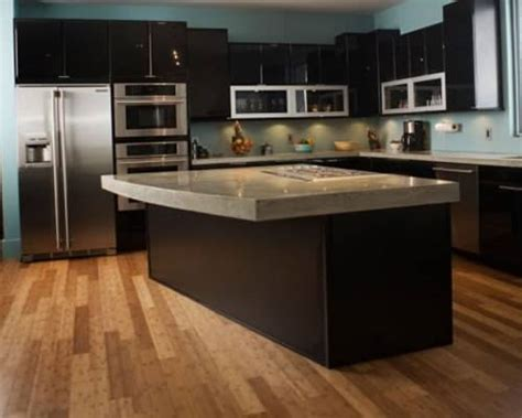 kitchen wood flooring ideas black kitchen cabinets wood floors the interior design