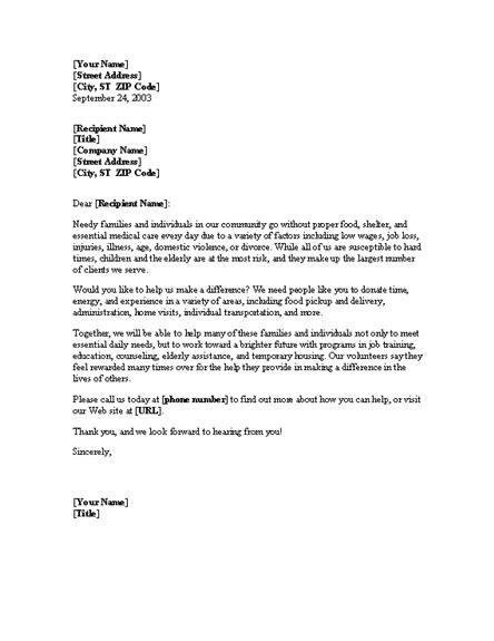 sample letter   volunteers sample business letter