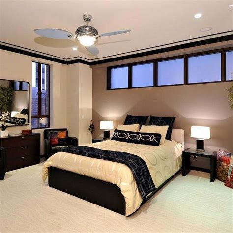 paint ideas for bedroom modern fan with lighting ideas for contemporary bedroom 16605 | Modern Fan With Lighting Ideas For Contemporary Bedroom Decorated With Brown Wall Color Combination And White Floor Rugs Design