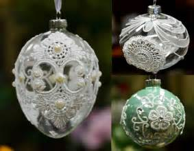 christmas tree ornament glass ball with laces bauble onion egg clear pink aqua ebay