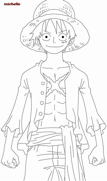 Luffy Piece Coloring Pages Monkey Printable Anime