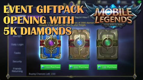 Mobile Legends 5k Diamonds Giftpack Opening Event