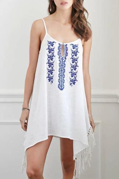 Embroidered Floral Tassel Tunic Spaghetti Strap Dress
