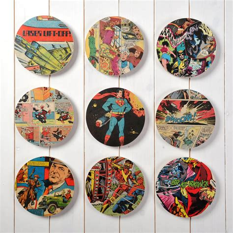superhero comic book original set of nine wall art by