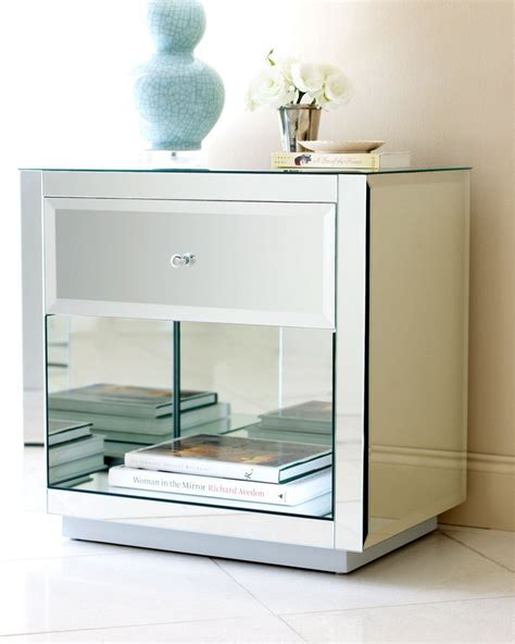 mirrored end tables nightstands horchow hannah mirrored chest nightstand end table nieman