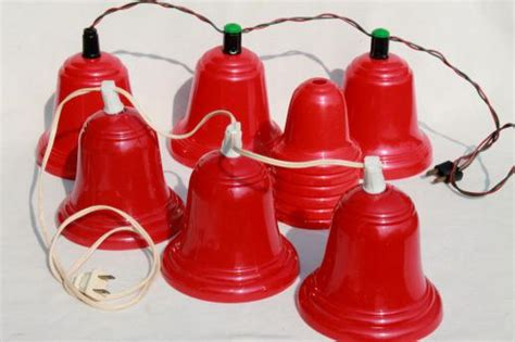 lighted christmas bells windows vintage red plastic bells christmas light covers for