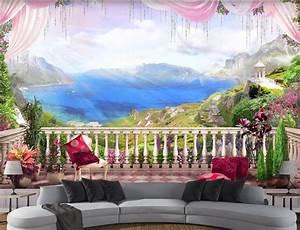 3d Custom photo mural 3d wallpaper Balcony alpine sea view ...