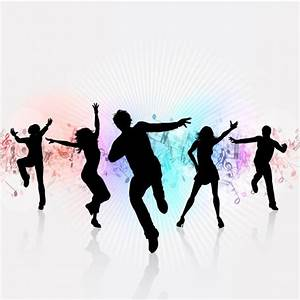 White Party Background with Dancing silhouettes Vector ...