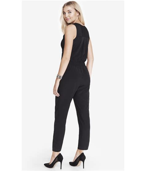 express jumpsuits express ruffle front jumpsuit in black lyst