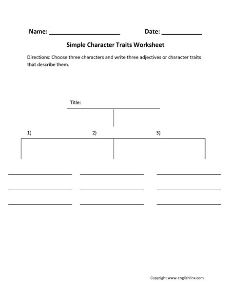 Characterization Worksheets Calleveryonedaveday