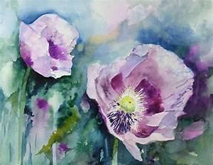 Aquarell Malen Blumen : lila mohn c aquarell von hanka koebsch aquarelle von ~ Articles-book.com Haus und Dekorationen
