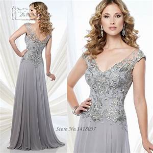 silver grey mother of the bride lace dresses v neck back With grey dresses for a wedding