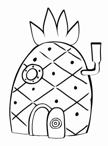 Mewarnai Gambar Rumah Spongebob Sketsa Putih Hitam