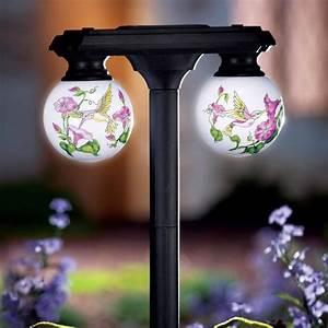 Hummingbird solar power lighted globe light outdoor garden