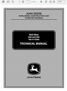 John Deere 240 And 250 Skid Steer Loader Technical Ma