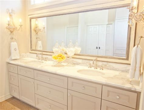 light gray double vanity transitional bathroom