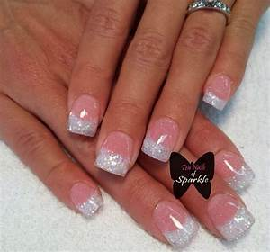 Instagram photo of pink and white glitter acrylic nails by ...