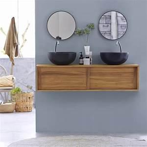 meuble double vasque en teck vasques basic duo chez tikamoon With meuble salle de bain suspendu en teck