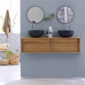 meuble double vasque en teck vasques basic duo chez tikamoon With meuble salle de bain teck suspendu