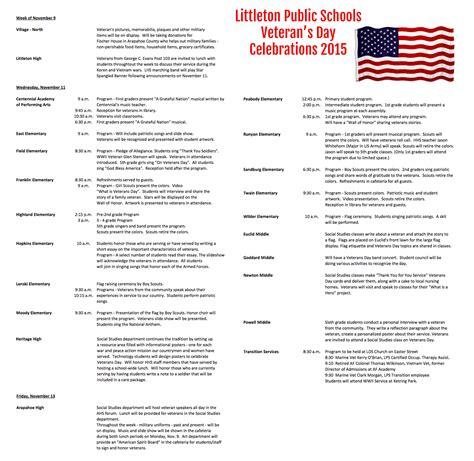 veterans day program lps honors veterans littleton schools