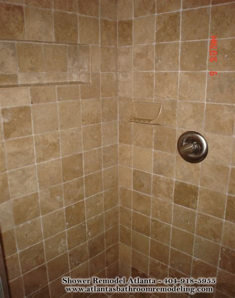 medium square travertine tile shower   huge fan
