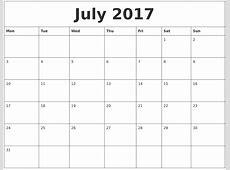 July 2017 Printable Daily Calendar