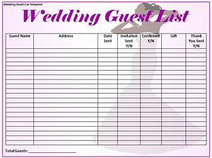 wedding guest list template word excel formats With wedding invitations guest list templates