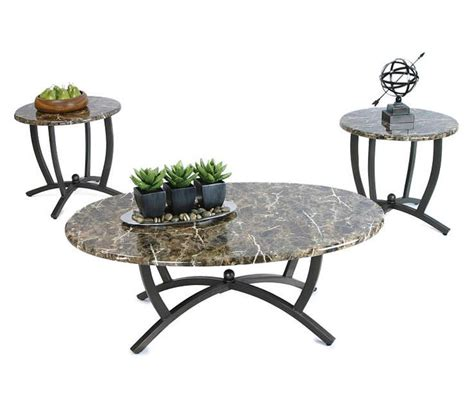 Typically coffee table sets consist of a coffee table and two end. Brown Faux Marble 3-Piece Occasional Table Set - Big Lots in 2020   Coffee table, Round coffee ...