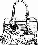 Coloring Handbag Purse Bag Mermaid Template Getcolorings Ariel sketch template