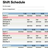excel templates  shift planning time tracking