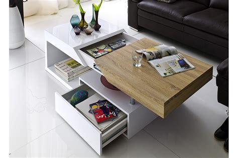 Table Basse Blanc Laqué Et Aspect Chêne Cbcmeubles