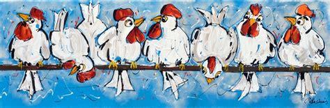 bloemen 3d dikke verf you tube schilderijen kippen vrolijk