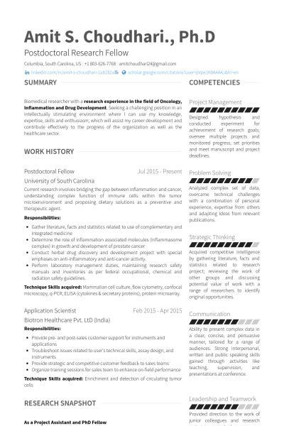 postdoctoral fellow resume sles visualcv resume