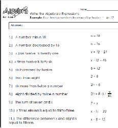 translating phrases write algebraic expressions worksheets